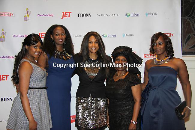 Kimmie Smith, Siamanda Carge, Beverly Johnson, Alexandreena Dixon, Gisela Bikoko at Color of Beauty Awards honoring supermodel Beverly Johnson on February 4, 2014 at Holy Apostles, New York City, New York. (Photo by Sue Coflin/Max Photos)