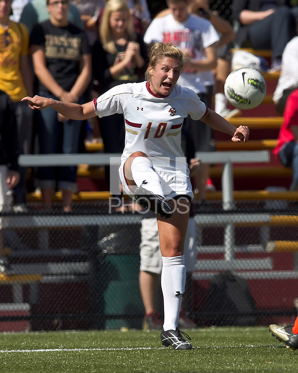 Boston College forward/midfielder Gibby Wagner (10) passes the ball. Boston College defeated University of Virginia, 2-0, at the Newton Soccer Field, on September 18, 2011.
