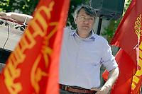 Roma, 14 Giugno 2012.Manifestazione della FIOM CGIL contro il ddl Fornero e la riforma del lavoro. Il corteo davanti il Ministero Lavoro,  Maurizio Landini