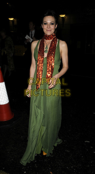 "HELEN McCRORY.Afterparty for the premiere of ""Flashbacks of a Fool"", Sketch bar & nightclub, London, England..April 13th, 2008.after party full length  mcrory green dress red scarf long maxi.CAP/CAN.©Can Nguyen/Capital Pictures."