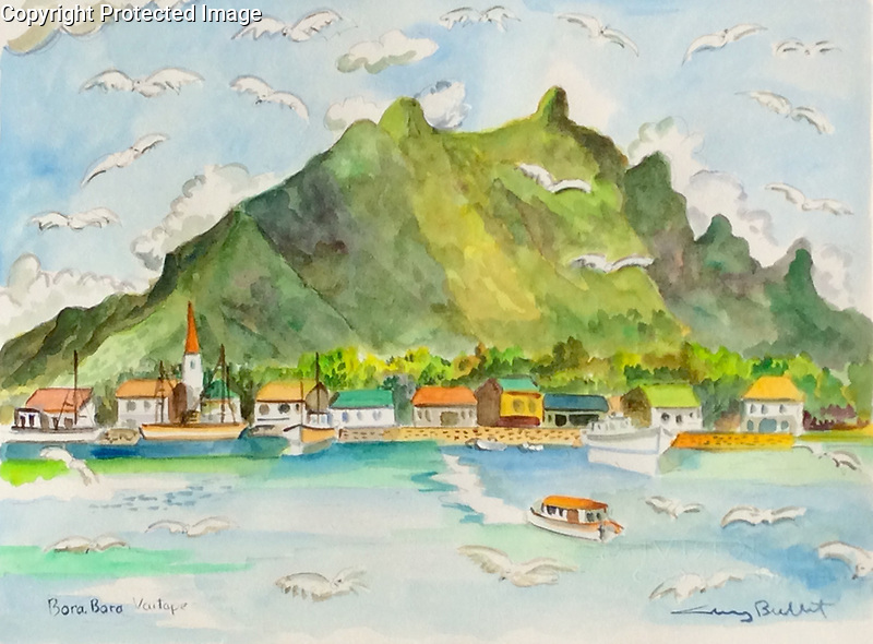 &quot;Bora Bora Vaitape&quot; 9x12 ORIGINAL Watercolor on Paper<br />