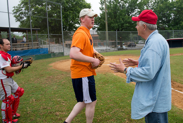 UNITED STATES - JUNE 1:  Coach Joe Barton, R-Texas, right, talks with candidate for Congress Jason Plummer, R-Ill., during republican baseball practice at Simpson Stadium in Alexandria, Va.  (Photo By Tom Williams/CQ Roll Call)