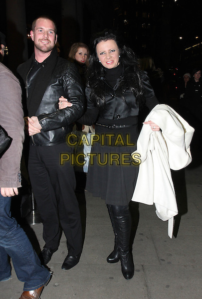 Karen Hardy.Press night for the 'Midnight Tango', Aldwych Theattre, London, England..January 31st, 2012.full length lack jacket skirt tights trousers boots black.CAP/JIL.©Jill Mayhew/Capital Pictures