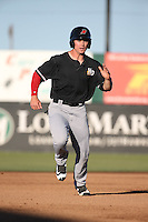 Scott Heineman (18) of the High Desert Mavericks runs the bases during a game against the Lancaster JetHawks at The Hanger on April 16, 2016 in Lancaster, California. Lancaster defeated High Desert, 3-2. (Larry Goren/Four Seam Images)