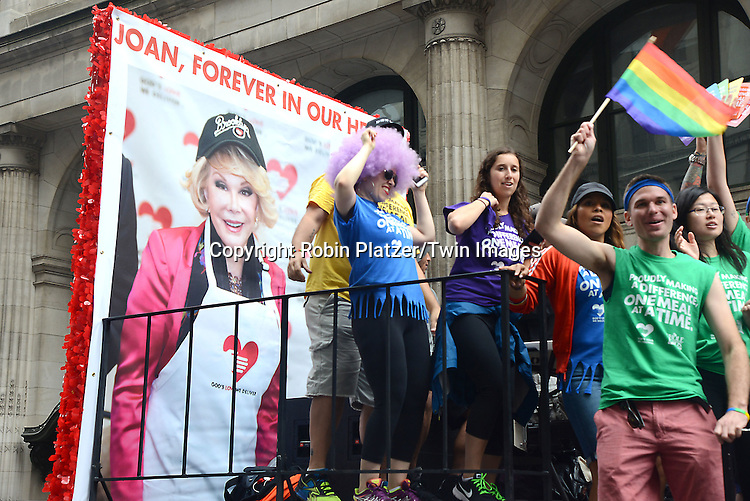 God's Love We Deliver float attends the 2015 NYC Pride March on June 28, 2015 on Fifth Avenue in New York City. <br /> <br /> photo by Robin Platzer/Twin Images<br />  <br /> phone number 212-935-0770