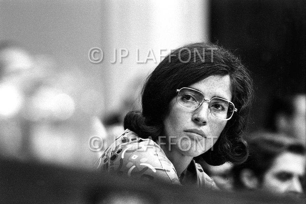Washington DC,1973. Elizabeth Holtzman (D-New York)  at Watergate hearings. A break in at the Democratic National Committee headquarters at the Watergate complex on June 17, 1972 results in one of the biggest political scandals the US government has ever seen.  Effects of the scandal ultimately led to the resignation of  President Richard Nixon, on August 9, 1974, the first and only resignation of any U.S. President.