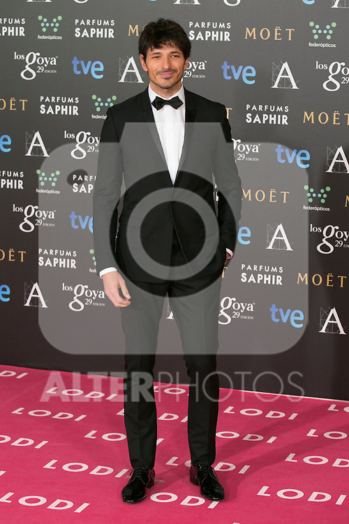 Andres Velencoso attend the 2015 Goya Awards at Auditorium Hotel, Madrid,  Spain. February 07, 2015.(ALTERPHOTOS/)Carlos Dafonte)