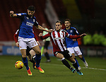 Raphael Rossi Branco of Swindon Town tussles with Billy Sharp of Sheffield Utd during the English League One match at Bramall Lane Stadium, Sheffield. Picture date: December 10th, 2016. Pic Simon Bellis/Sportimage