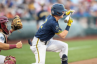 Michigan Wolverines shortstop Jack Blomgren (2) squares to bunt during Game 6 of the NCAA College World Series against the Florida State Seminoles on June 17, 2019 at TD Ameritrade Park in Omaha, Nebraska. Michigan defeated Florida State 2-0. (Andrew Woolley/Four Seam Images)
