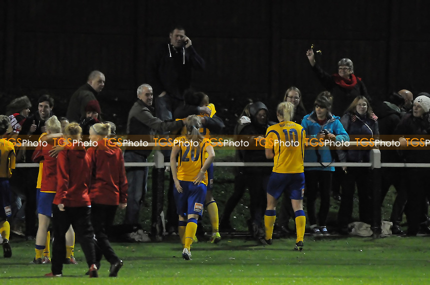 Doncaster Belles players celebrate with fans at the final whistle - Sunderland AFC Ladies vs Doncaster Rovers Belles - FA Womens Super League 2 Football at the Hetton Centre - 04/10/14 - MANDATORY CREDIT: Steven White/TGSPHOTO - Self billing applies where appropriate - contact@tgsphoto.co.uk - NO UNPAID USE