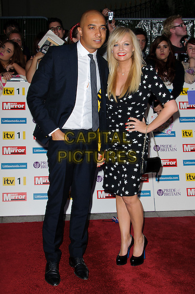 Jade Jones & Emma Bunton.'The Daily Mirror's Pride Of Britain Awards 2011' at Grosvenor House Hotel, London, England..3rd October 2011.full length black dress hand on hip white star stars print suit shirt tie couple .CAP/CJ.©Chris Joseph/Capital Pictures.