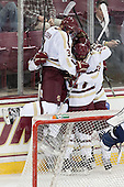Ian McCoshen (BC - 3), Chris Calnan (BC - 11), Quinn Smith (BC - 27), Patrick Brown (BC - 23) - The Boston College Eagles defeated the visiting St. Francis Xavier University X-Men 8-2 in an exhibition game on Sunday, October 6, 2013, at Kelley Rink in Conte Forum in Chestnut Hill, Massachusetts.