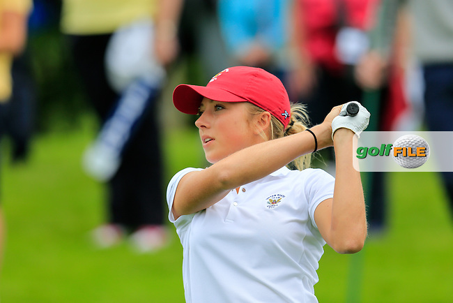 Sierra Brooks on the 18th during the Saturday morning foursomes at the 2016 Curtis cup from Dun Laoghaire Golf Club, Ballyman Rd, Enniskerry, Co. Wicklow, Ireland. 11/06/2016.<br /> Picture Fran Caffrey / Golffile.ie<br /> <br /> All photo usage must carry mandatory copyright credit (&copy; Golffile | Fran Caffrey)