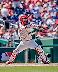 23 August 2018: Philadelphia Phillies catcher Jorge Alfaro in action against the Washington Nationals at Nationals Park in Washington, DC. The Phillies shut out the Nationals 2-0 to take the 3rd game of their 3-game mid-week divisional series. Mandatory Credit: Ed Wolfstein Photo *** RAW (NEF) Image File Available ***