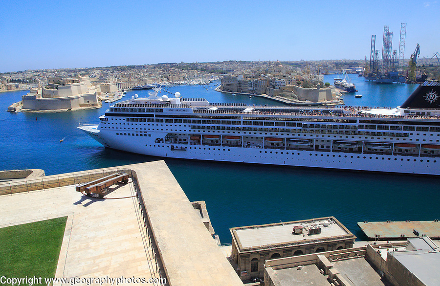 MSC cruise ship in Grand Harbour arriving in  Valletta, Malta