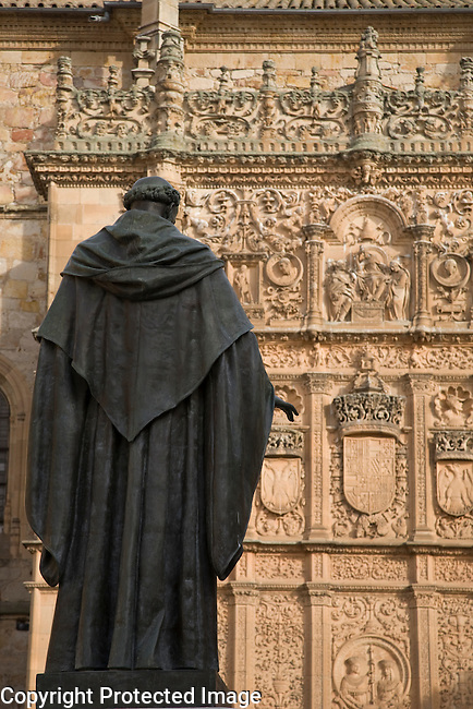 Fray Luis Statue in front of Main Facade, University of Salamanca, Castile and Leon, Spain