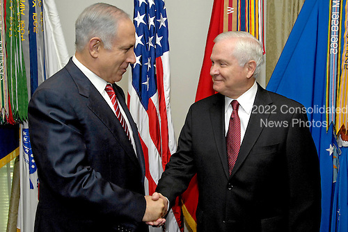 Arlington, VA - May 19, 2009 -- United States Secretary of Defense Robert M. Gates (right) welcomes visiting Prime Minister Binyamin Netanyahu of Israel (left) to the Pentagon, May 19, 2009, for talks on regional security issues of interest to both nations.  .Credit: R.D. Ward - DoD via CNP