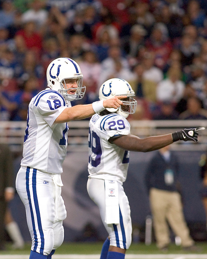 October 25, 2009 - St Louis, Missouri, USA - Colts quarterback Peyton Manning (18) and running back Joseph Addai (29) make adjustments before a play in the game between the St Louis Rams and the Indianapolis Colts at the Edward Jones Dome.  The Colts defeated the Rams 42 to 6.