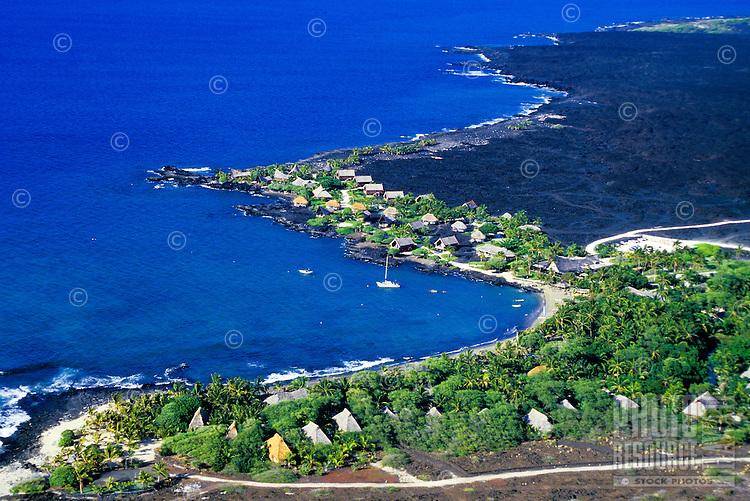 Aerial of Kona village resort on the Big island of Hawaii