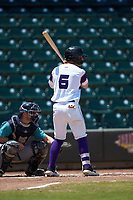 Steele Walker (6) of the Winston-Salem Rayados at bat against the Lynchburg Hillcats at BB&T Ballpark on June 23, 2019 in Winston-Salem, North Carolina. The Hillcats defeated the Rayados 12-9 in 11 innings. (Brian Westerholt/Four Seam Images)