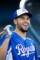 Eric Hosmer #35 of the Kansas City Royals before a game against the Los Angeles Angels at Angel Stadium on May 14, 2013 in Anaheim, California. (Larry Goren/Four Seam Images)