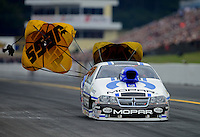 Oct. 6, 2012; Mohnton, PA, USA: NHRA pro stock driver Allen Johnson during qualifying for the Auto Plus Nationals at Maple Grove Raceway. Mandatory Credit: Mark J. Rebilas-
