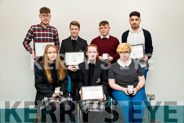 Pictured at the Kerry Education and Training Board student awards night, at the Institute of Technology, Tralee on Friday night last, were students from Killarney Community Colleg, front l-r: Roisin Wall, Karen O'Donoghue and Sarah O'Riordan. Back l-r: Ross Brennan, Brian Kelleher, Shane Courtney and Mutaz Almusawi.