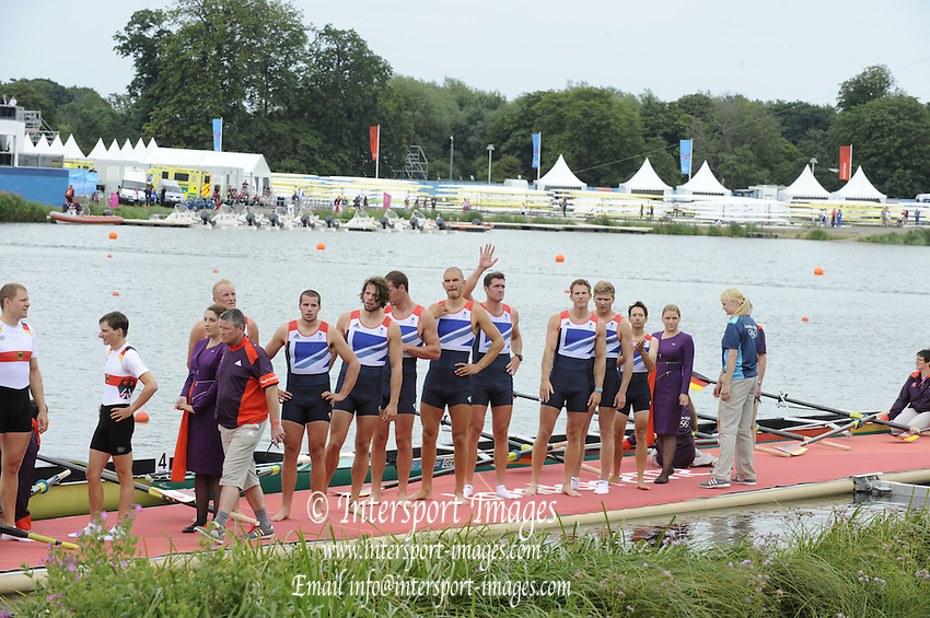 Eton Dorney, Windsor, Great Britain,..2012 London Olympic Regatta, Dorney Lake. Eton Rowing Centre, Berkshire[ Rowing]...Description;  Men's Eights Medals left to right, .GBR.M8+ Alex PARTRIDGE (b) , James FOAD (2) , Tom RANSLEY (3) , Richard EGINGTON (4) , Mohamed SBIHI (5) , Greg SEARLE (6) , Matt LANGRIDGE (7) , Constantine LOULOUDIS (s) , Phelan HILL (c)  Dorney Lake..13:00:22  Wednesday  01/08/2012..[Mandatory Credit: Peter Spurrier/Intersport Images].