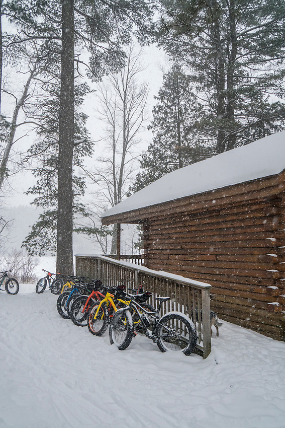 Winter fat biking at Harlow Lake near Marquette, Michigan.