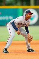 Danville Braves third baseman Carlos Franco (11) on defense against the Burlington Royals at Burlington Athletic Park on July 19, 2012 in Burlington, North Carolina.  The Royals defeated the Braves 4-3.  (Brian Westerholt/Four Seam Images)
