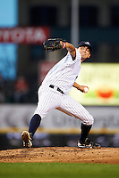 Empire State Yankees starting pitcher Michael O'Connor #45 delivers a pitch during game three of a best of five playoff series against the Pawtucket Red Sox at Frontier Field on September 7, 2012 in Rochester, New York.  Empire State defeated Pawtucket 4-3 to send the series to game four as Pawtucket leads two games to one.  (Mike Janes/Four Seam Images)
