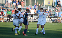Kansas City, MO - Sunday September 04, 2016: Yael Averbuch celebrates scoring, Mandy Laddish during a regular season National Women's Soccer League (NWSL) match between FC Kansas City and the Sky Blue FC at Swope Soccer Village.