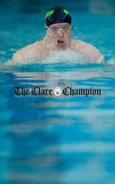 Dermot Ryan in action during the Ennis Swimming Club Invitational Gala at Ennis Pool. Photograph by John Kelly.