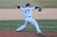 Wisconsin Timber Rattlers pitcher Tyler Linehan (29) delivers a pitch during a game against the Peoria Chiefs on April 12th, 2015 at Fox Cities Stadium in Appleton, Wisconsin.  Peoria defeated Wisconsin 11-1.  (Brad Krause/Four Seam Images)