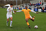 KANSAS CITY, MO - DECEMBER 03:   Jermaine Windster (11) of the University of Charleston and Vicente Munoz (13) of Wingate University battle for the ball during the Division II Men's Soccer Championship held at Children's Mercy Victory Field at Swope Soccer Village on December 03, 2016 in Kansas City, Missouri. Wingate beat Charleston 2-0 to win the National Championship. (Photo by Jack Dempsey/NCAA Photos via Getty Images)