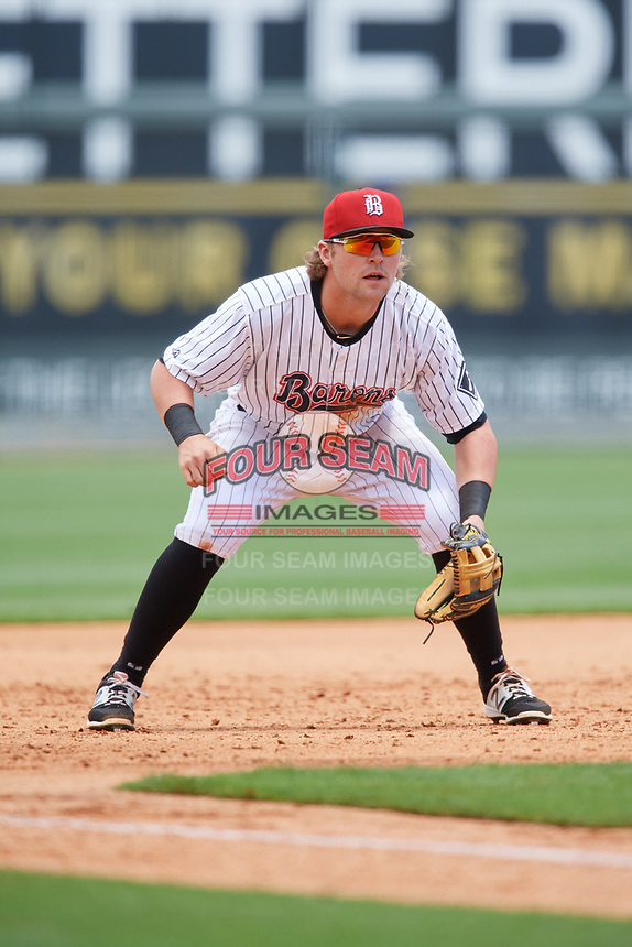 Birmingham Barons third baseman Trey Michalczewski (27) during a game against the Jacksonville Jumbo Shrimp on April 24, 2017 at Regions Field in Birmingham, Alabama.  Jacksonville defeated Birmingham 4-1.  (Mike Janes/Four Seam Images)