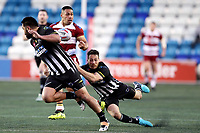 Picture by Paul Greenwood/SWpix.com - 27/04/2018 - Rugby League - Betfred Super League - Widnes Vikings v Wigan Warriors - Select Security Stadium, Widnes, England - Willie Isa of Wigan Warriors is tackled by Lloyd White of Widnes Vikings