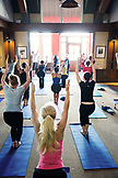 USA, Colorado, Aspen, Sundeck yoga at the top of the gondola, Aspen Ski Resort, Ajax