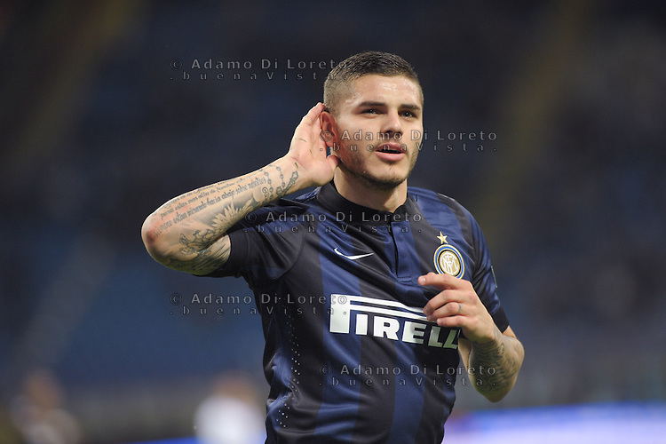 Mauro Icardi (Inter) after the goal during the Serie Amatch between Inter vs Bologna, on April 05, 2014. Photo: Adamo Di Loreto/BuenaVista*photo