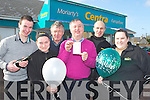 Mike Moriarty from Moriarty's Centra, Farranfore celebrates on Saturday after they found out that the winning ticket for the Euro Miliions Jackpot was sold in their shop worth half a million front row l-r: Sean Foley, Sylwia Dabrowska,  Pat Finnegan, Mike Moriarty, Maneusz Dabrowski and Annette O' Shea..