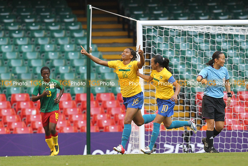 RENATA COSTA of Brazil scores the second goal  and celebrates - Brazil Women vs Cameroon Women - Womens Olympic Football Tournament London 2012 Group E at the Millenium Stadium, Cardiff, Wales - 25/07/12 - MANDATORY CREDIT: Gavin Ellis/SHEKICKS/TGSPHOTO - Self billing applies where appropriate - 0845 094 6026 - contact@tgsphoto.co.uk - NO UNPAID USE.