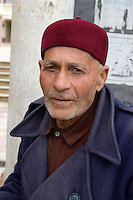 Derna, Libya - Libyan Man wearing Tunisian Chechia (Hat)