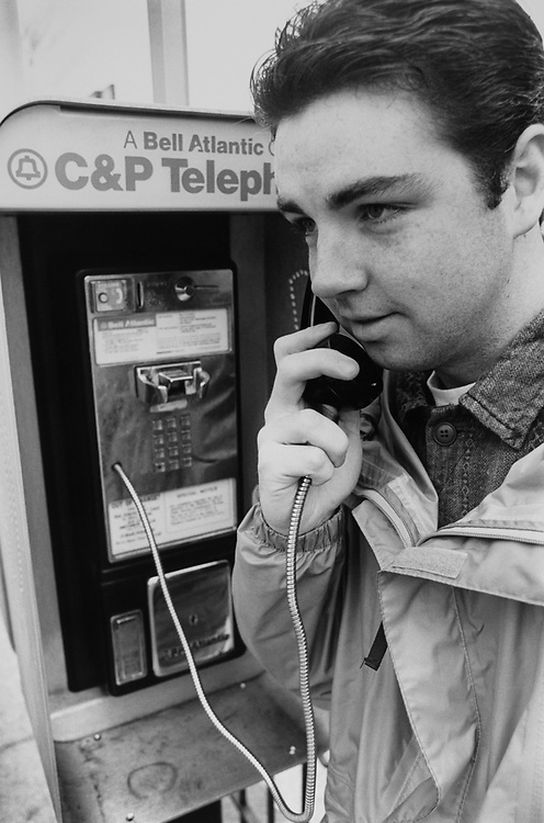 Capitol Hill resident Michael O'neil talking on the phone in March 1995. (Photo by Maureen Keating/CQ Roll Call via Getty Images)