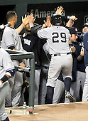 Baltimore, MD - May 8, 2009 -- New York Yankees catcher Francisco Cervelli (29) celebrates with his teammates after scoring the Yantees fourth and final run on a Johnny Damon double in the seventh inning against the Baltimore Orioles at Oriole Park at Camden Yards in Baltimore, MD on Friday, May 8, 2009.  The Yankees won the game 4 - 0..Credit: Ron Sachs / CNP.(RESTRICTION: NO New York or New Jersey Newspapers or newspapers within a 75 mile radius of New York City)