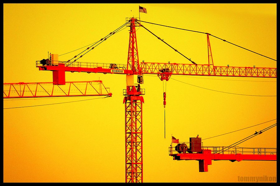 Multiple construction cranes, S.Lk. Union, Seattle