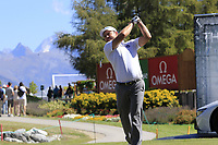 Richard Sterne (RSA) tees off the 11th tee during Sunday's Final Round 4 of the 2018 Omega European Masters, held at the Golf Club Crans-Sur-Sierre, Crans Montana, Switzerland. 9th September 2018.<br /> Picture: Eoin Clarke | Golffile<br /> <br /> <br /> All photos usage must carry mandatory copyright credit (&copy; Golffile | Eoin Clarke)
