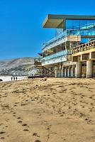 Malibu Beach, CA, Malibu Road; Homes, Colorful; Luxury; Oceanfront; Beach; Houses; Raised; Stilts; Pilings; low tide; Los Angeles; CA