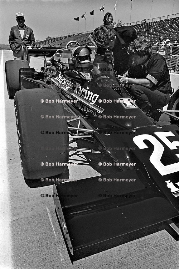INDIANAPOLIS, IN - MAY 29: Danny Ongais waits to drive his Parnelli VPJ6B/Cosworth TC during practice for the Indianapolis 500 at the Indianapolis Motor Speedway in Indianapolis, Indiana, on May 29, 1977.