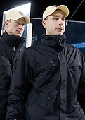 Greg Brown (BC - Assistant Coach), Mike Cavanaugh (BC - Associate Head Coach) - The Boston College Eagles defeated the Northeastern University Huskies 2-1 on Saturday, January 14, 2012, at Fenway Park in Boston, Massachusetts.