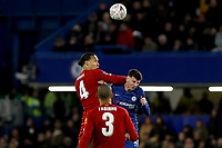 3rd March 2020; Stamford Bridge, London, England; English FA Cup Football, Chelsea versus Liverpool; Virgil van Dijk of Liverpool competes for the ball with Mason Mount of Chelsea